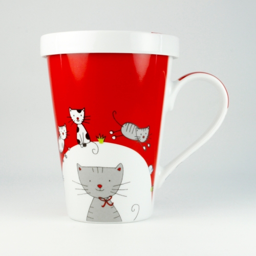 Taza c/ Filtro Könitz Cat, 400 ml, porcelana