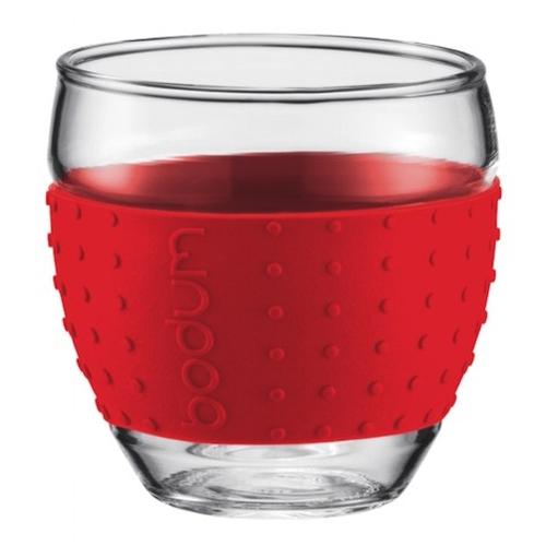 Vasos Bodum Pavina 11165-294, set 2, 100 ml, borosilicato, rojo