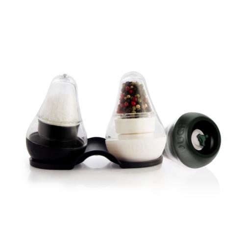 Molino Finum Mini Look Touch Taste, set 2, c/ bandeja, blanco y negro