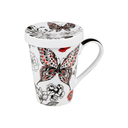 Taza c/ Ffiltro Könitz Mariposa Negra, 400 ml, porcelana