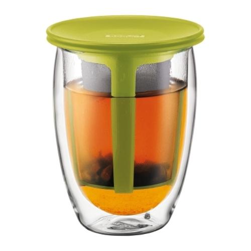 Tea for One Bodum K11153-565, 350 ml, verde lima, doble capa, borosilicato