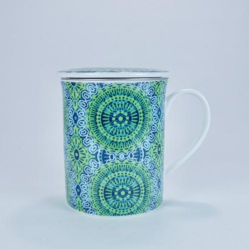 Taza c/ Filtro Tea Logic Nanji, 300 ml, verd/azul, porcelana