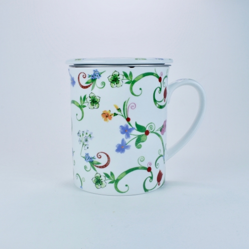 Taza c/ Filtro Tea Logic Fleurette, 300 ml, porcelana