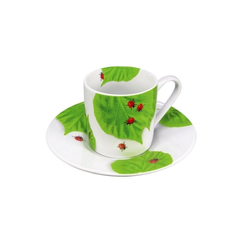 Taza c/plato Espresso Könitz Ladybird, 80 ml, porcelana