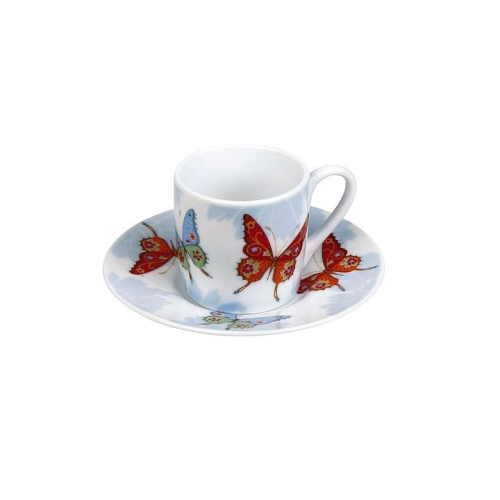 Taza c/plato Espresso Könitz Butterfly, 80 ml, porcelana