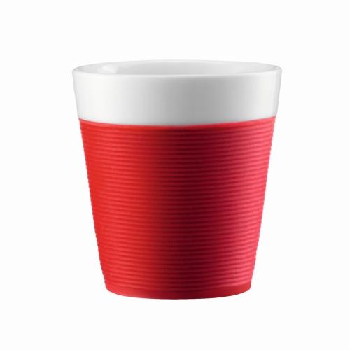 Vaso Bodum Bistro 11581-294, set 2, 170 ml, rojo, porcelana