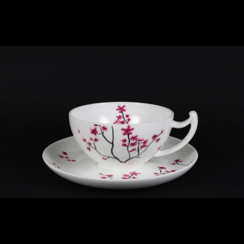 Taza c / Plato Tea Logic Cerezo, 200 ml, porcelana