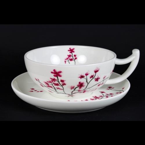 Taza c/ Plato Tea Logic Cerezo, 300 ml, porcelana