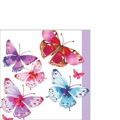 Servilleta PPD Aquarell Butterflies, 250 x 250 mm