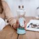 Botella Equa Squeeze Monstera, 550 ml, aqua, cristal borosilicato