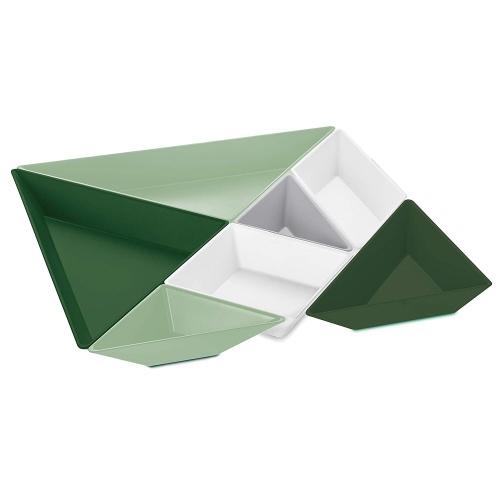 Bandejas Modulares Koziol Tangram Verdes, 303 x 303 x 32 mm, termoplástico, BPA Free
