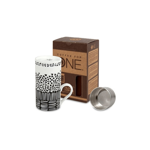 Cafetera Coffee for One Konitz Move Your Life, 330 ml, blanco/negro,  porcelana